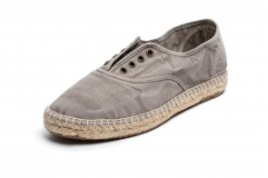 Espadrile Natural World, model Ingles, Gri, aspect Stone-Washed