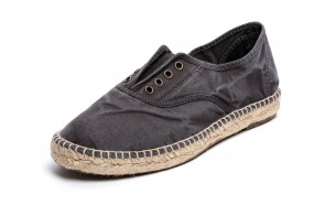 Espadrile Natural World, model Ingles, Negru, aspect Stone-Washed