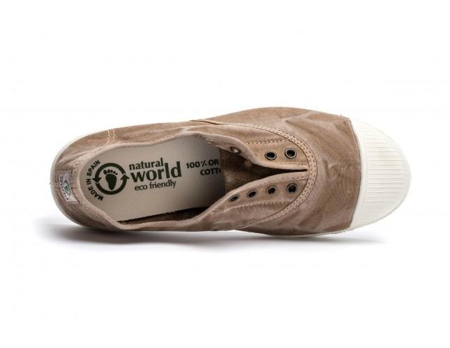 Tenisi Natural World, model Elastico, Bej, aspect Stone-Washed