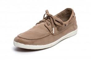 Pantofi din panza Natural World, model Nautico, Bej, aspect Stone-Washed