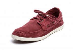 Pantofi din panza Natural World, model Nautico, Bordo, aspect Stone-Washed