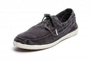 Pantofi din panza Natural World, model Nautico, Negru, aspect Stone-Washed
