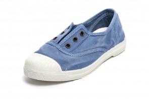 Tenisi Natural World pentru copii, model Elastico, Bleu, aspect Stone-Washed