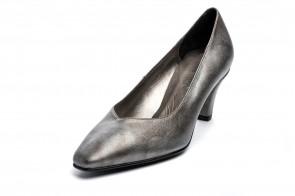 Pantofi din piele, model Gasymar 1301, GRI INCHIS METALIZAT