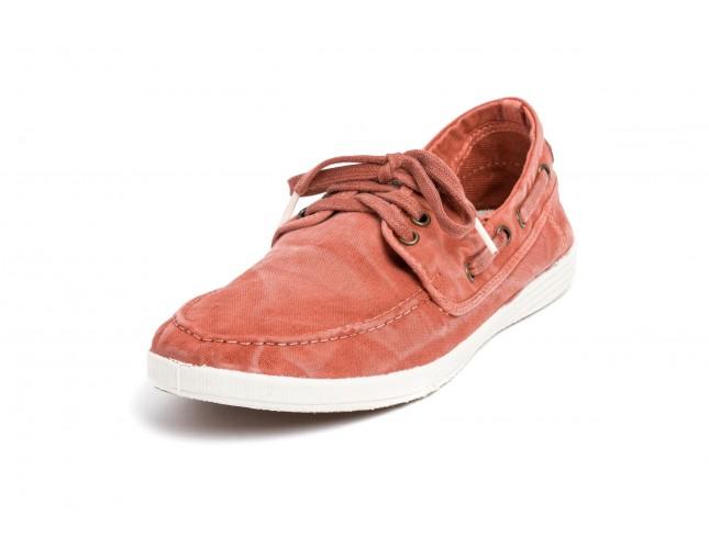 Pantofi Natural World, model Nautico 613, Teracota, aspect Stone-Washed