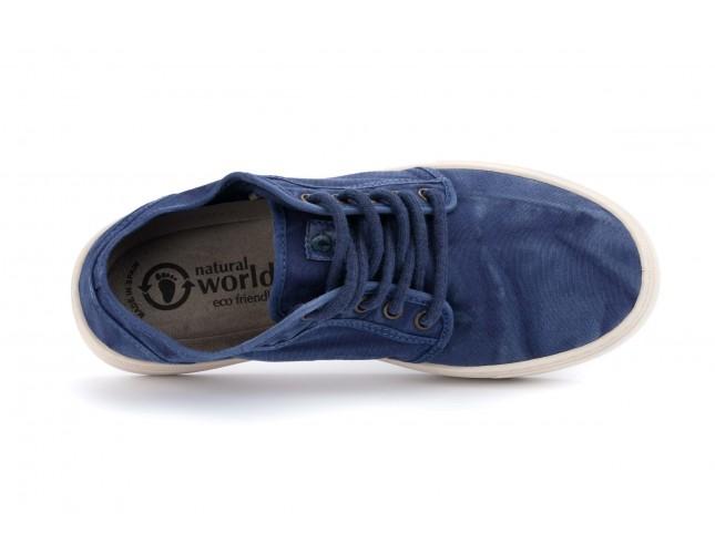 Pantofi Natural World, model BASKET 6602, Albastru Marin aspect stone-washed
