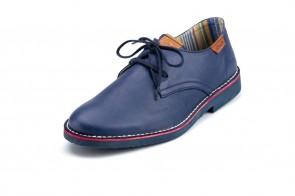 Pantofi ATXA, din piele, model Safari Samun 1916, Marin