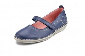 Pantofi ATXA din piele, model Rustik 1719, Albastru Marin