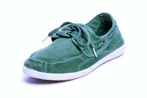 Pantofi din panza Natural World pentru barbati, model Nautico, Verde Albahaca, aspect Stone-Washed
